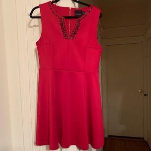 Red Sleeveless dress with Black Beading